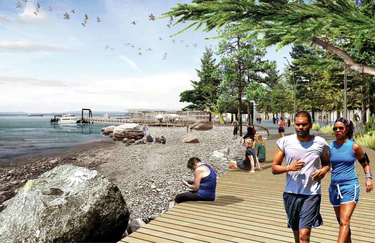 A new pebble beach at the waterfront edge of Pioneer Square with close proximity to the water taxi.
