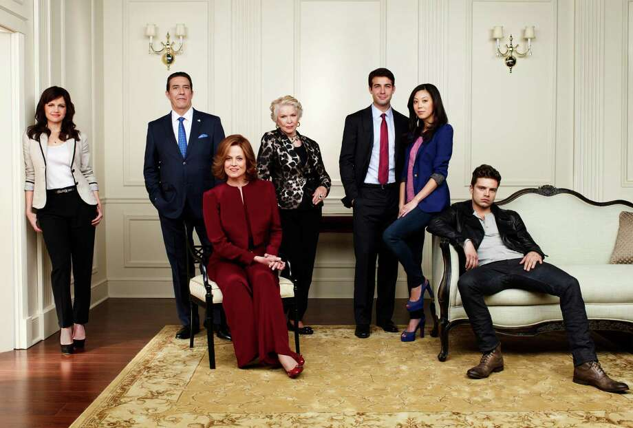 POLITICAL ANIMALS -- Season: 2012 -- Pictured: (l-r) Carla Gugino as Susan Berg, Ciaran Hinds as Bud Hammond, Sigourney Weaver as Elaine Barrish, Ellen Burstyn as Margaret, James Wolk as Doug Hammond, Brittany Ishibashi as Anne Ogami, Sebastian Stan as TJ Hammond -- (Photo by: Andrew Eccles/USA Network) Photo: USA Network / 2012 USA Network Media, LLC