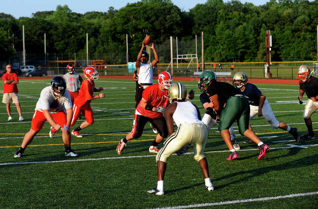 Fairfield County All-Star football practice at St. Joseph High School in Trumbull, Conn. on Thursday July 12, 2012. Photo: Christian Abraham / Connecticut Post