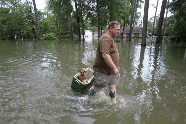 Jason Craig, and his dog Simon make their way down Pine Belt Drive for a grocery run in Cypress. Photo: Cody Duty, Houston Chronicle