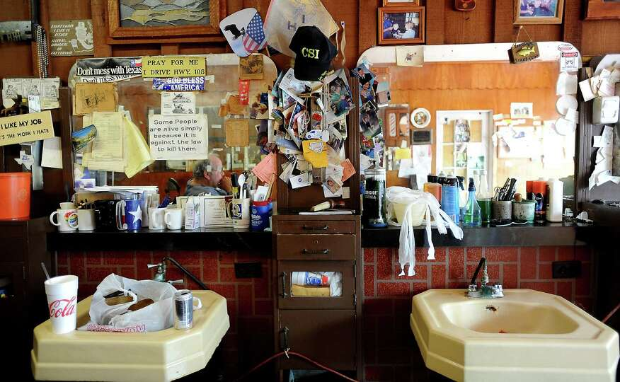Payne's Barber Shop is filled with items collected over decades of work in Sour Lake, Wednesday, Jul