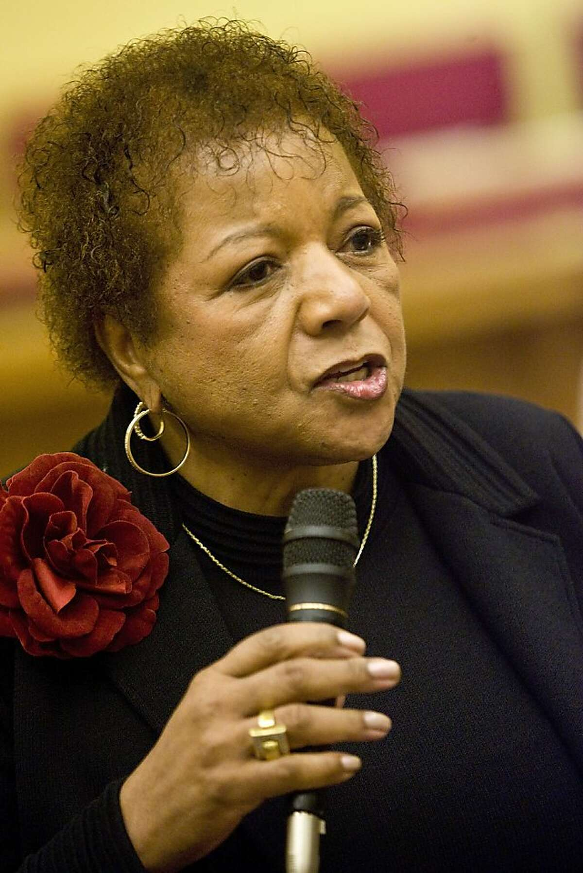 Alice Huffman, President, California Conference of the NAACP speaks to people gathered at the Jones United Methodist Church to participate in a worship and panel discussion about marriage equality on October 18, 2008 in San Francisco, California. (Photograph by David Paul Morris / The Chronicle)