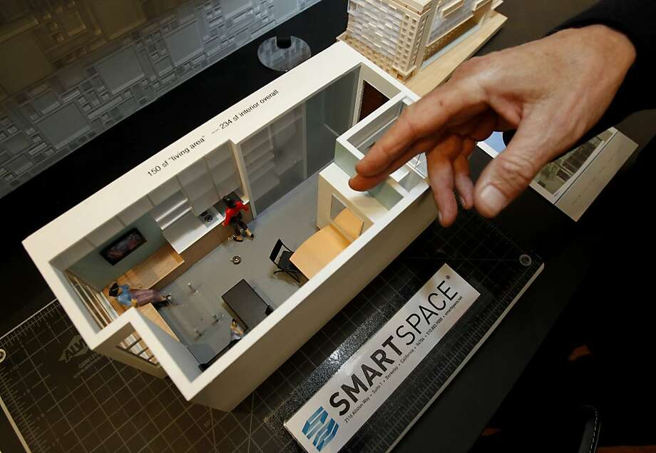 A model of the tiny apartment living space. Developer Patrick Kennedy has built a prototype micro-apartment in a Berkeley storage warehouse. He is building similar units in San Francisco. Tiny apartments, the size of two Airstream trailers, could be the wave of the future in San Francisco, Calif. if supervisors approve a resolution to shrink the legal apartment size. Photo: Brant Ward, The Chronicle