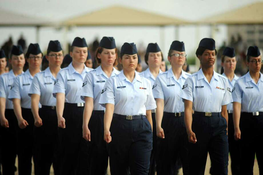 Graduates from Air Force basic military training parade at Joint Base San Antonio-Lackland this past July.  We owe them an environment free from intimidation and abuse. Photo: Billy Calzada, San Antonio Express-News / © 2012 San Antonio Express-News