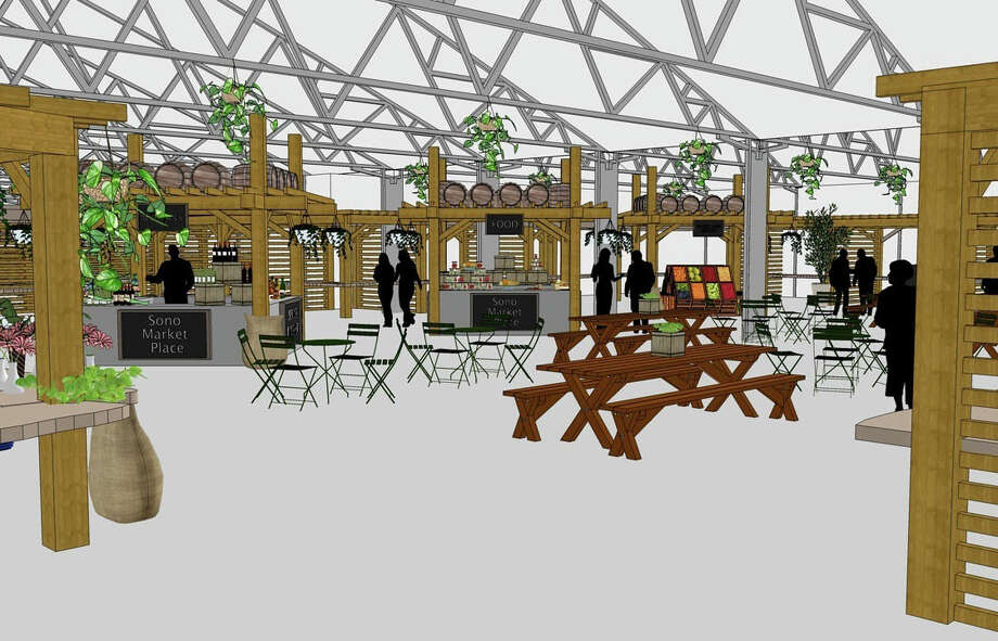 A rendering of SoNo Marketplace, slated to open Aug. 1 at 314 Wilson Ave. in Norwalk. Photo: Contributed Photo