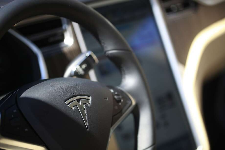 Steering and navigation systems are prominent features inside the Tesla Model S sedan at the Tesla Headquarters. Photo: Mike Kepka, The Chronicle