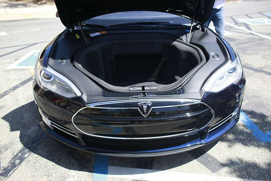 Front trunk space is available on the Tesla Model S sedan shown at the Tesla Headquarters. Photo: Mike Kepka, The Chronicle