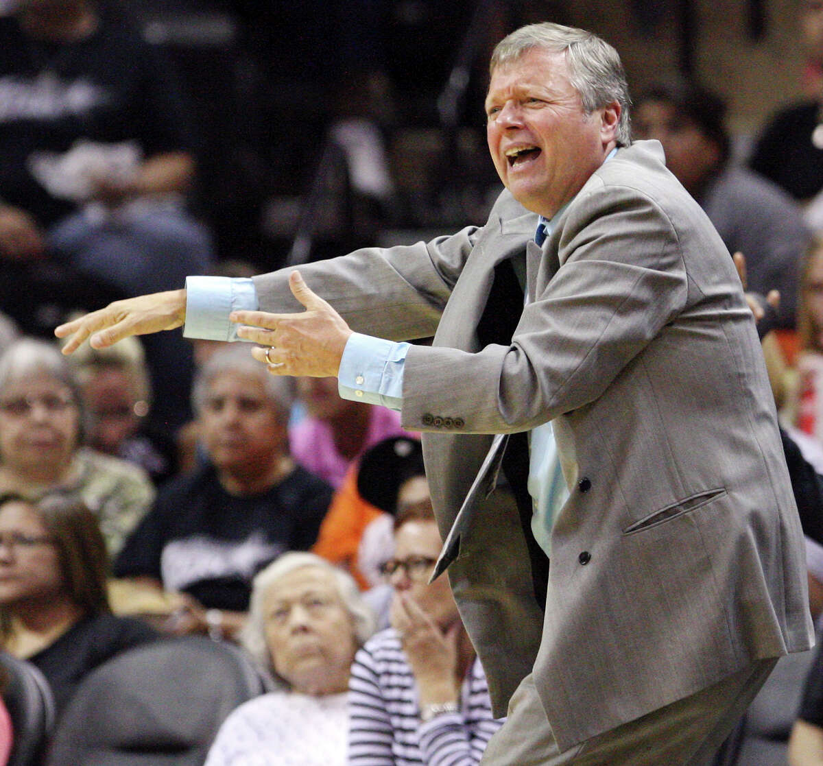 Silver Stars' headcoach Dan Hughes reacts after a call during second half action against the Dream Friday, July 13, 2012 at the AT&T Center. The Stars won 91-70.