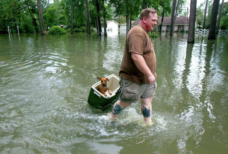Jason Craig pulls his dog, Simon, in an ice chest through the flooded street of Pine Belt Drive, in Cypress, Texas, Friday, July 13, 2012. Historic rainfall levels that drenched the Houston area this week flooded dozens of homes and caused widespread street flooding, but the rain also is likely to result in the end of drought conditions in Southeast Texas, officials said Friday. (AP Photo/Houston Chronicle, Cody Duty) Photo: Cody Duty / © 2011 Houston Chronicle