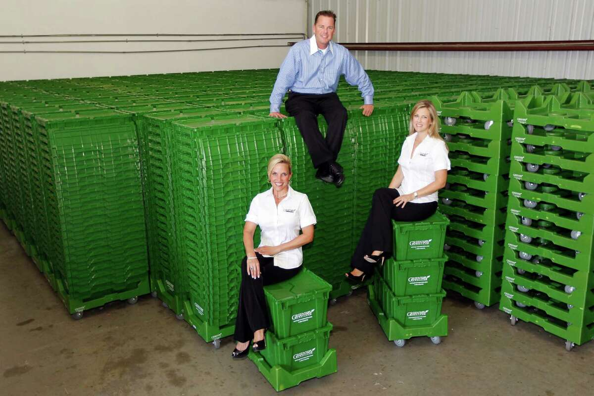 Greenway Crates' Michelle Dubiski, left, Robby Organ and Lynn Lavan seized on a way to use crates made of recycled plastic to make moving easier and contribute to a healthy environment.