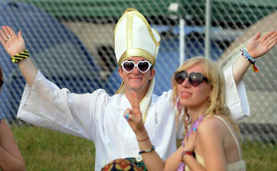 Alex Sigel, 19, of Mystic, Conn. strikes a pose in his Pope costume at Camp Bisco on Friday, July 13, 2012, at Indian Lookout Country Club in Mariaville, N.Y. (Cindy Schultz / Times Union) Photo: Cindy Schultz / 00018447A