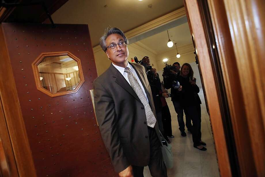 Suspended Sheriff Ross Mirkarimi arrives at Room 400 for his official misconduct hearing at City Hall on Friday, June 29, 2012 in San Francisco. Mirkarimi took a plea deal and avoided trial two months after he pleaded not guilty to child endangerment and multiple domestic violence charges. (AP Photo/San Francisco Chronicle, Lea Suzuki)  NORTHERN CALIFORNIA MANDATORY CREDIT PHOTOG & CHRONICLE; MAGS OUT; NO SALES Photo: Lea Suzuki, Associated Press