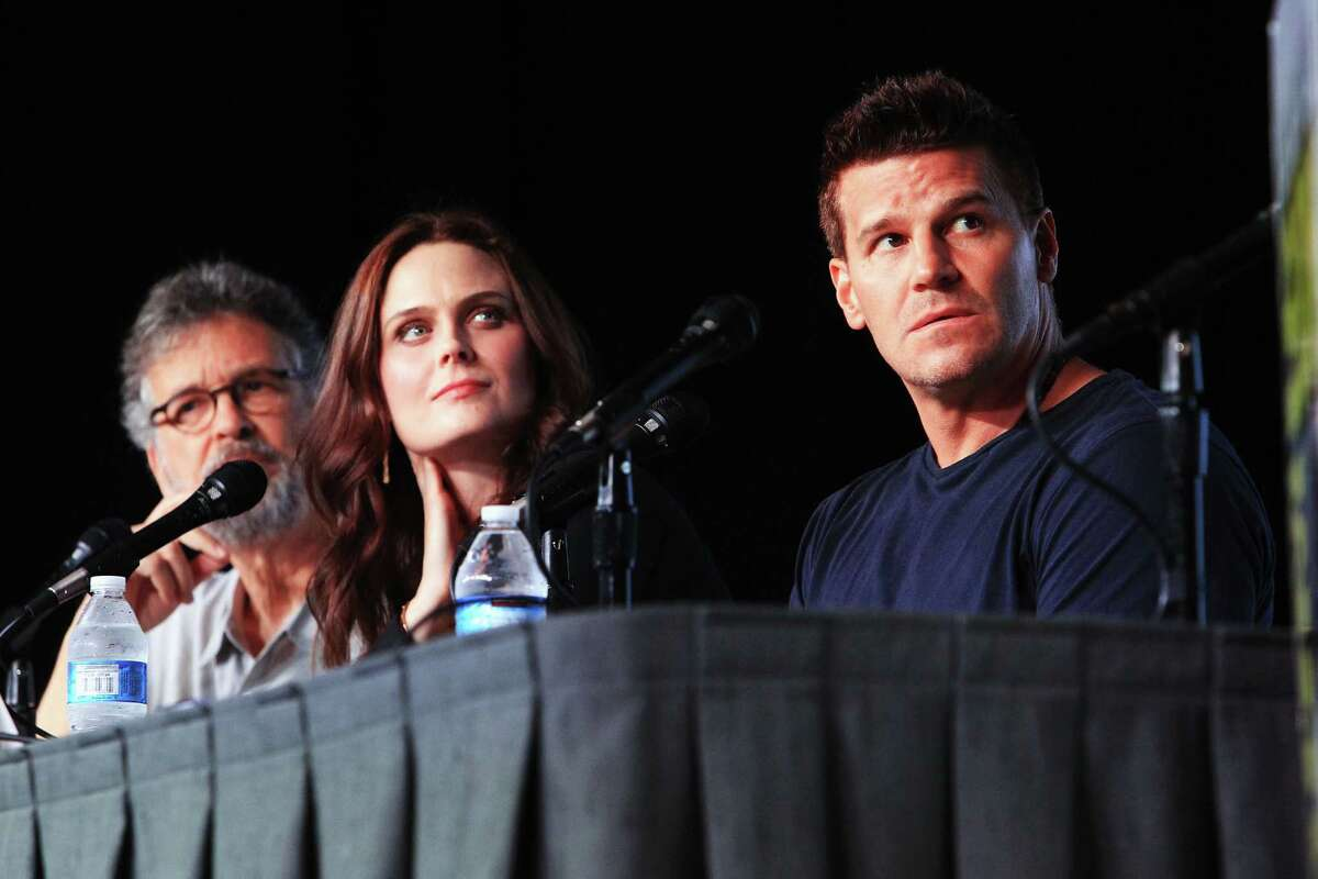 (L-R) Producer Stephen Nathan, actress Emily Deschanel and actor David Boreanaz speak at
