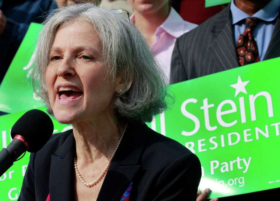 FILE - In this Oct. 24, 2011 file photo, Jill Stein of Lexington, Mass. speaks during a news conference outside the Statehouse in Boston. Stein, a Massachusetts doctor, is poised to make her second run for president as the Green Party's candidate.  (AP Photo/Elise Amendola) Photo: Elise Amendola / AP