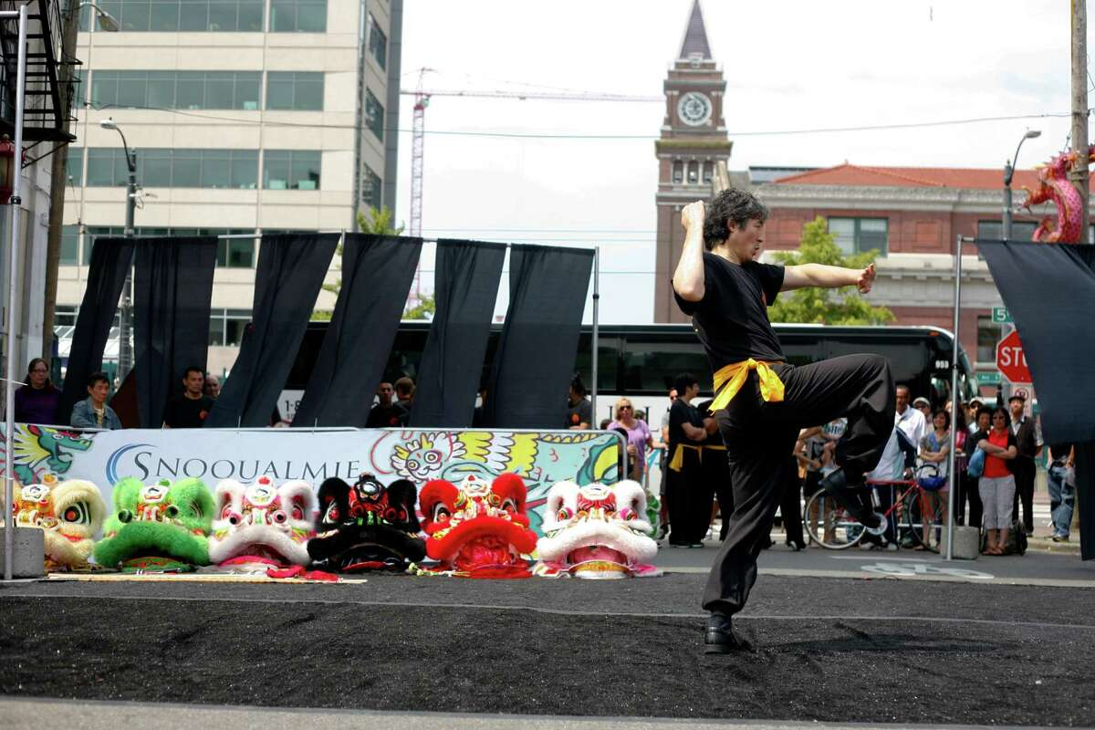 A member of the Mak Fai Washington Kung Fu Club performs.