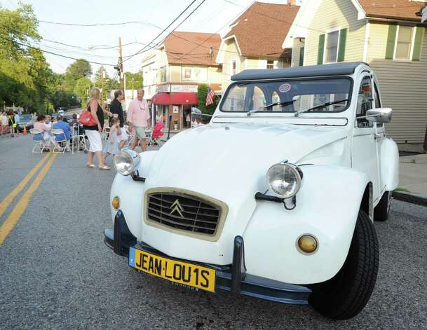 Chef Jean-Louis Gerin's Citroën during the Bastille Day street party on Lewis Street in Greenwich, Saturday night, July 14, 2012. The event was hosted by Restaurant Jean-Louis and the Alliance Française of Greenwich. Photo: Bob Luckey / Greenwich Time