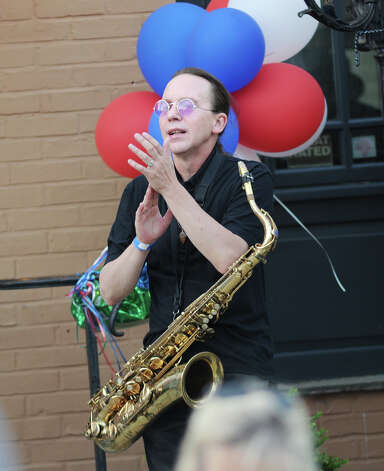 Saxophonist Pierre Guertin of the band Blues Patrol during the Bastille Day street party on Lewis Street in Greenwich, Saturday night, July 14, 2012. The event was hosted by Restaurant Jean-Louis and the Alliance Française of Greenwich. Photo: Bob Luckey