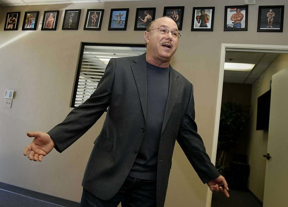Victor Conte has a San Carlos, Calif. office full of pictures of athletes he knows. Victor Conte, of BALCO fame,  has reinvented himself as an opponent of performance enhancing steroids, and a proponent of tougher drug testing measures. Photo: Brant Ward, The Chronicle