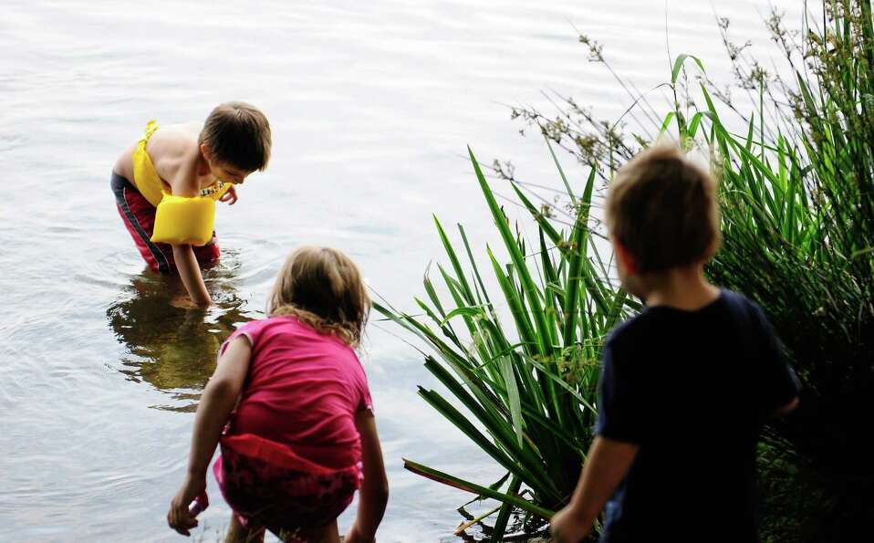 Children play in the water.