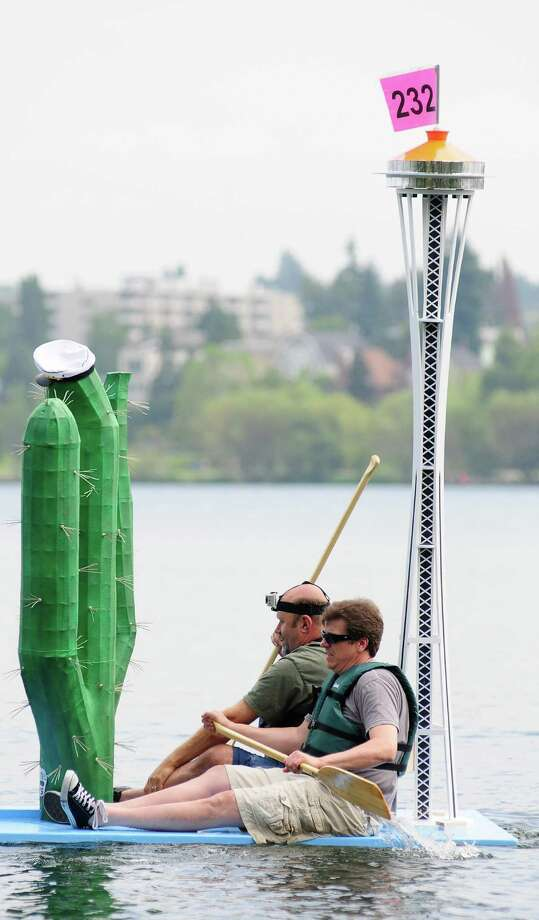 The Taco Time boat features a Galaxy Gold Space Needle in addition to the chain's iconic cactus. Photo: LINDSEY WASSON / SEATTLEPI.COM