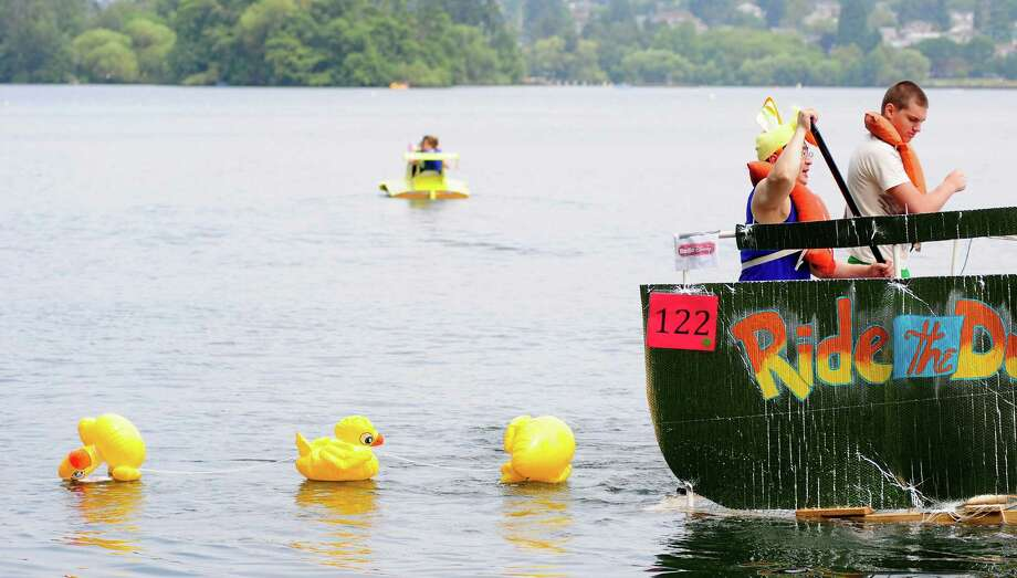 "One boat is modeled to look like the ""Ride the Duck"" during a theme ride. Photo: LINDSEY WASSON / SEATTLEPI.COM"