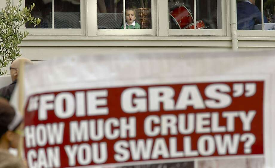 A young boy watches from the window, as animal right's protesters gathered in front of the Presidio Social Club in San Francisco, Calif. on Saturday July 14, 2012. Protesters are against the restaurant making Froie Gras available on this evening's menu, since a California state law banded products from force fed ducks. Photo: Michael Macor, The Chronicle