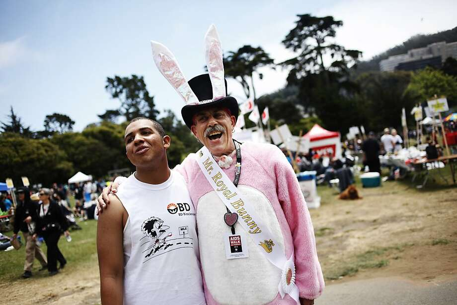 It's Jimmy McConnell's 23rd time at the AIDS Walk. This year he promised to wear his bunny costume if his friends would help him to raise money. The San Francisco AIDS Walk took place in Golden Gate Park on Sunday, July 15, 2012. Photo: Sonja Och, The Chronicle