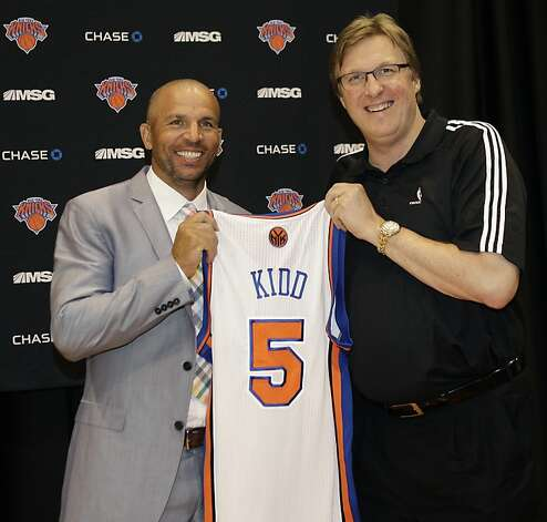New York Knicks executive vice president and general manager Glen Grunwald poses for a photograph with Jason Kidd, one of the Knicks two newest additions, following a news conference at the team's training facility in Tarrytown, N.Y., Thursday, July 12, 2012.  (AP Photo/Kathy Willens) Photo: Kathy Willens, Associated Press