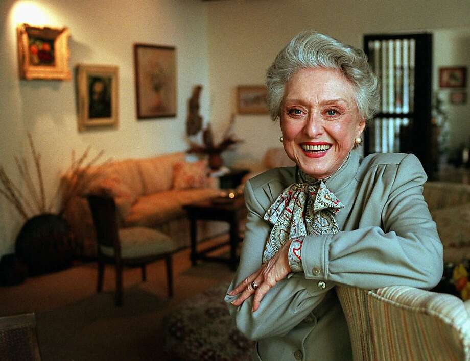 "FILE- In this March 12, 1997, file photo, actress Celeste Holm poses at a friends' home in Santa Monica, Calif. Celeste Holm, a versatile, bright-eyed blonde who soared to Broadway fame in ""Oklahoma!"" and won an Oscar in ""Gentlemen's Agreement"" but whose last years were filled with financial difficulty and estrangement from her sons, died Sunday, July 15, 2012,  a relative said. She was 95.(AP Photo/Kevork Djansezian, File) Photo: Kevork Djansezian, Associated Press"
