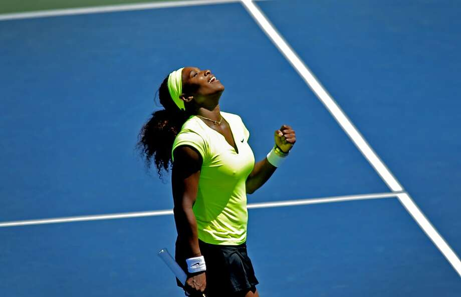 Serena Williams celebrates her victory over Coco Vandeweghe in the women's singles finals at the Bank of the West Classic in Stanford, Calif., Sunday, July 15, 2012. Photo: Sarah Rice, Special To The Chronicle