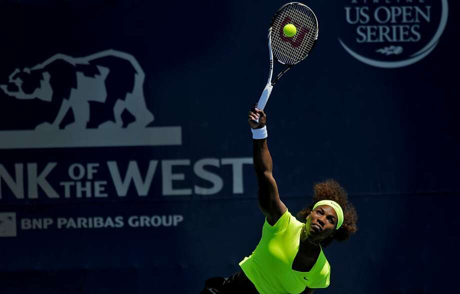 Serena Williams battles Coco Vandeweghe in the women's singles finals at the Bank of the West Classic in Stanford, Calif., Sunday, July 15, 2012.  Williams won the finals in two sets. Photo: Sarah Rice, Special To The Chronicle