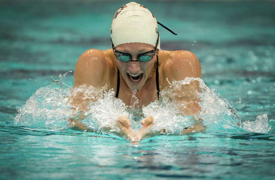 Texas A&M swimmer Breeja Larson trains in College Station. Larson will swim the 100m breastroke in London. Photo: Smiley N. Pool, Houston Chronicle / © 2012  Houston Chronicle