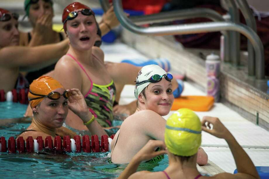 Cammile Adams shares a light moment with her teammates during training in College Station. Photo: Smiley N. Pool, Houston Chronicle / © 2012  Houston Chronicle