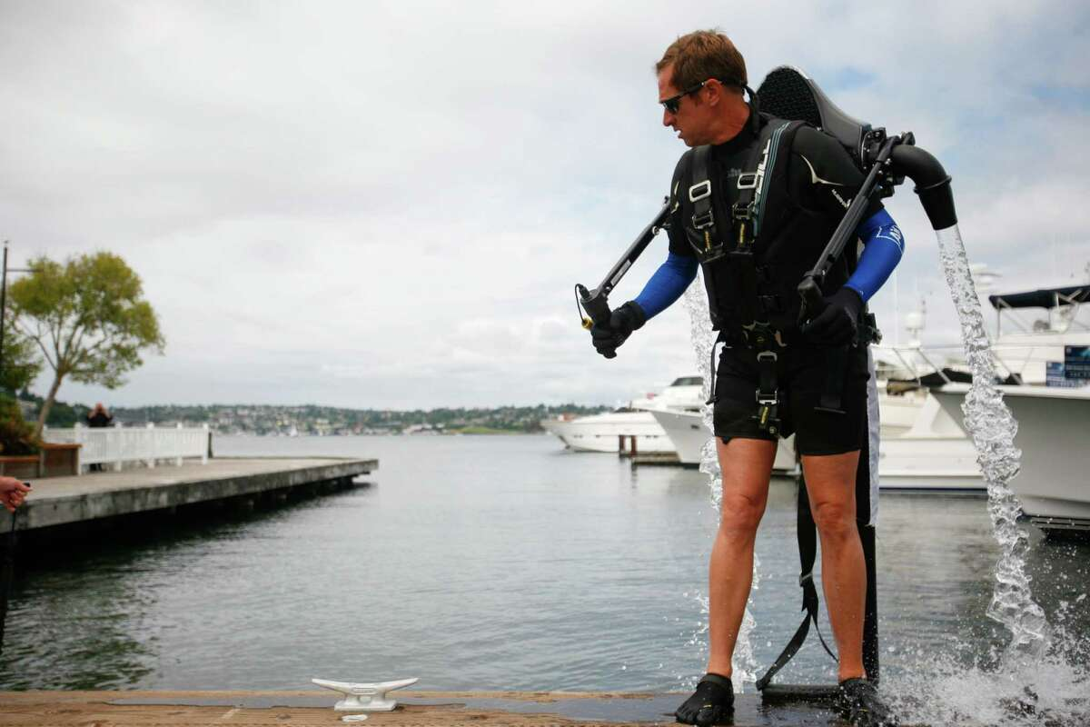 Wes Dawson, the Air pilot, prepares to launch the jet pack.