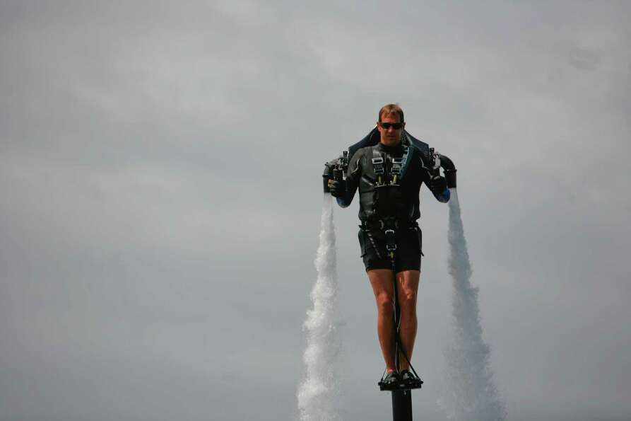 Wes Dawson flies the jet pack.