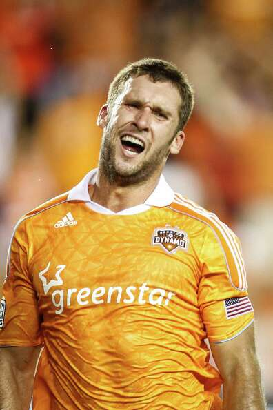 Houston Dynamo forward Will Bruin (12) reacts after scoring a goal to put the Dynamo up 2-0 during t