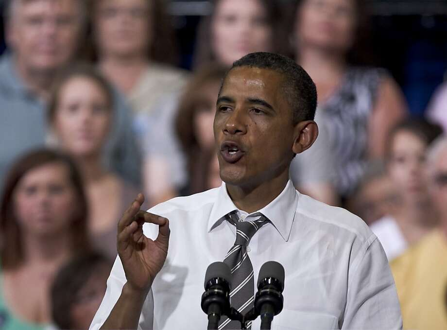 President Barack Obama speaks during a grassroots campaign event at Kirkwood Community College in Cedar Rapids, Iowa, Tuesday, July 10, 2012. (AP Photo/Nati Harnik) Photo: Nati Harnik, Associated Press