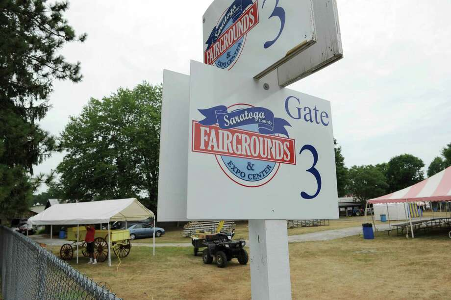 Signs mark a gate entrance at the  Saratoga County Fair grounds on Sunday, July 15, 2012 in Ballston Spa, NY.  The fair opens on Tuesday.   (Paul Buckowski / Times Union) Photo: Paul Buckowski