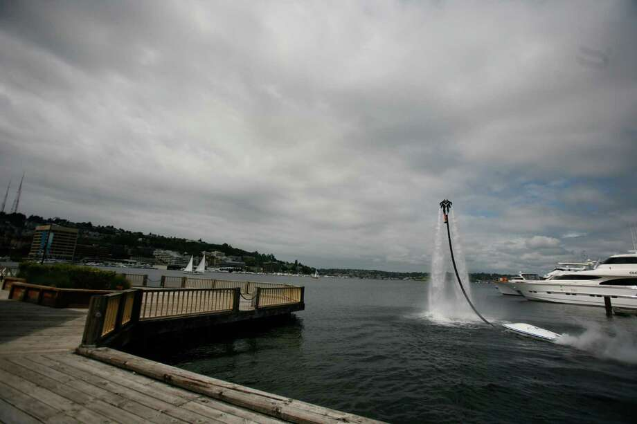 Wes Dawson flies the jet pack. Photo: Sofia Jaramillo / SEATTLEPI.COM