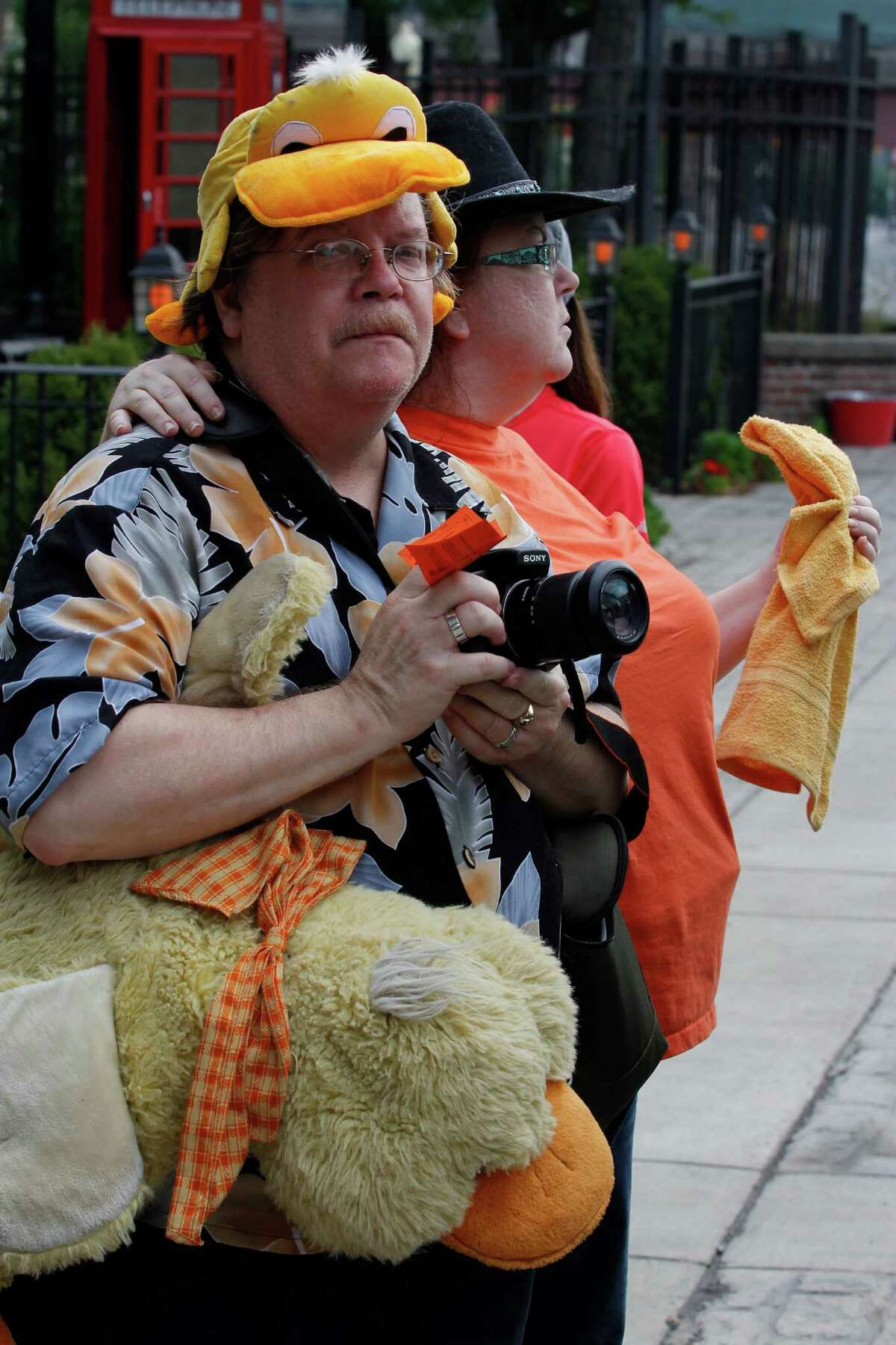 Paul and Cindy Pearson, of Troy, wait in line to board the final Aqua Ducks tour Sunday, July 15, 2012, in Albany, N.Y. (Dan Little/Special to the Times Union)
