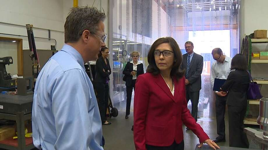 U.S. Sen. Maria Cantwell tours Machinists Inc., a Boeing supplier.