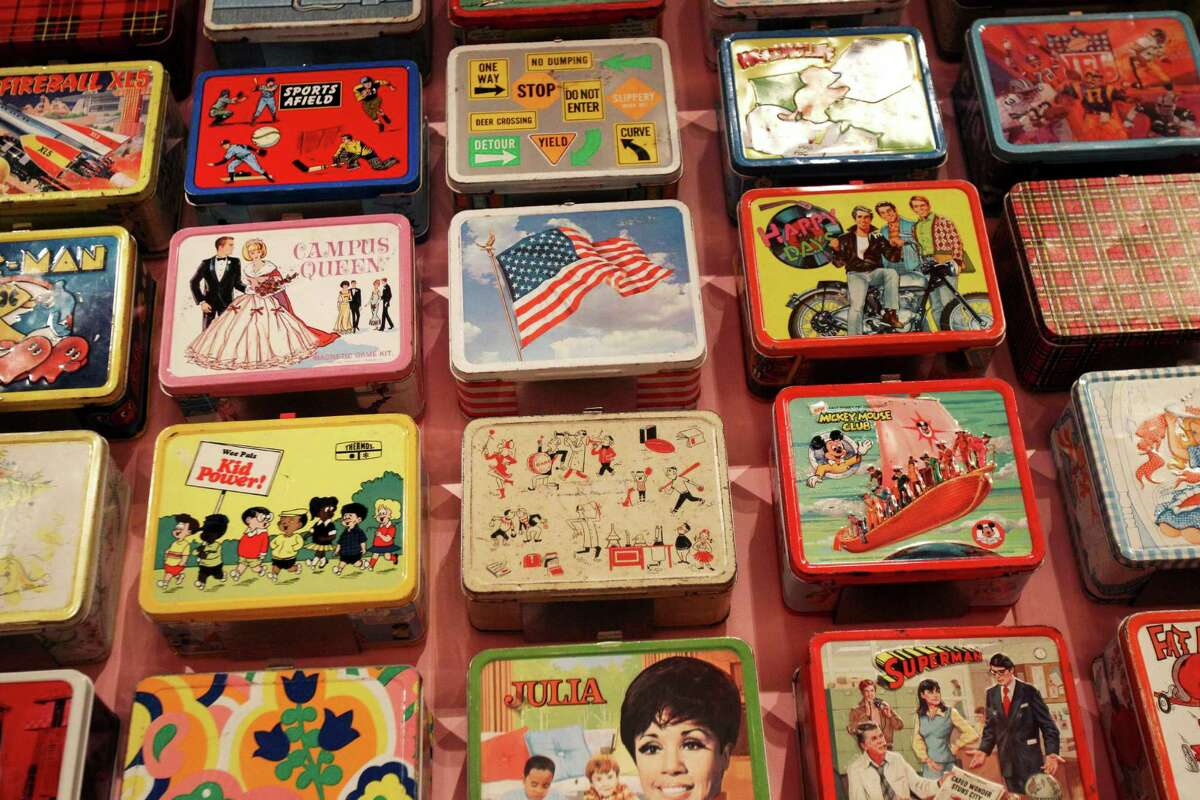 Lunch boxes are displayed at an exhibit called