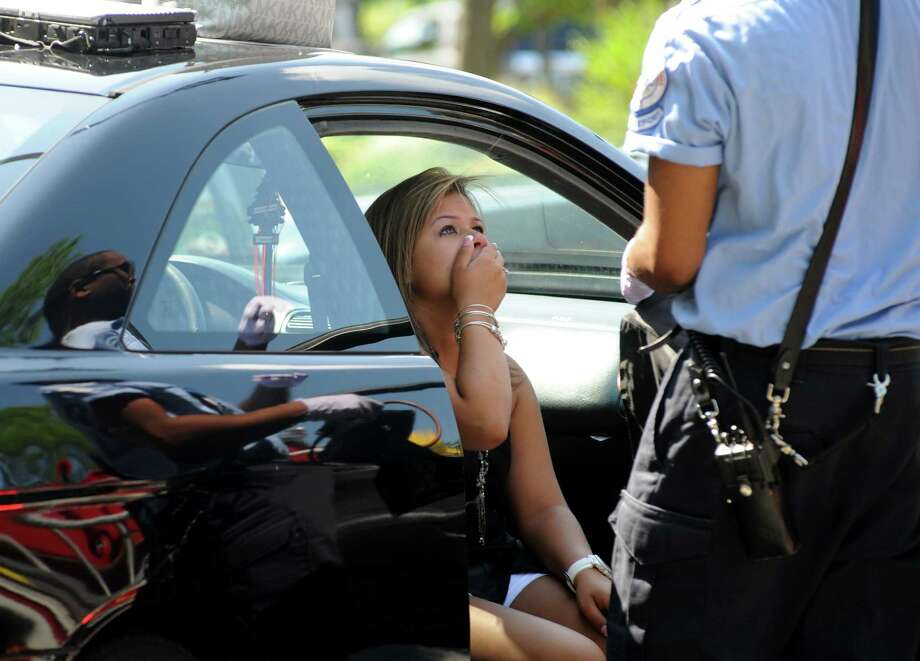 Melanie Rivera, 18, said she was driving northbound on Lafayette Boulevard and crossing the intersection of State Street  in Bridgeport, Conn. when a Volvo station wagon collided with the Honda sedan at about 10:20 a.m. on Monday July 16, 2012. Photo: Cathy Zuraw / Connecticut Post