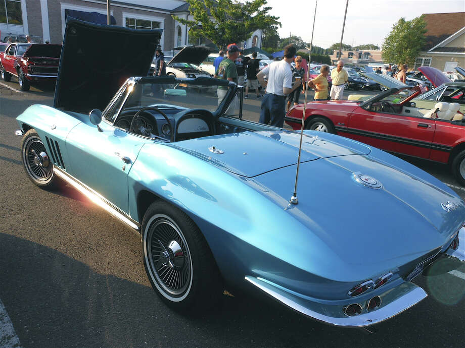 A gleaming blue Corvette Sting Ray on display at Saturday's Brickwalk Promenade concert and classic car show. Photo: Mike Lauterborn / Fairfield Citizen contributed