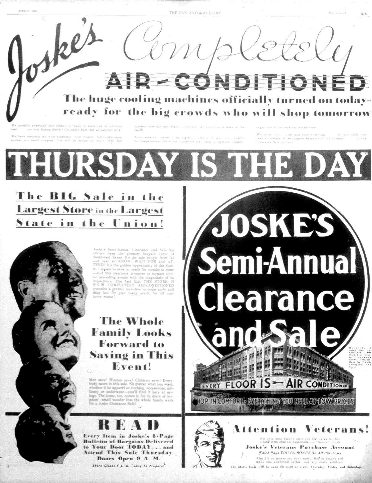 An advertisement from the June 17, 1936, edition of the San Antonio Light touts the new air conditioning at Joske's department store.