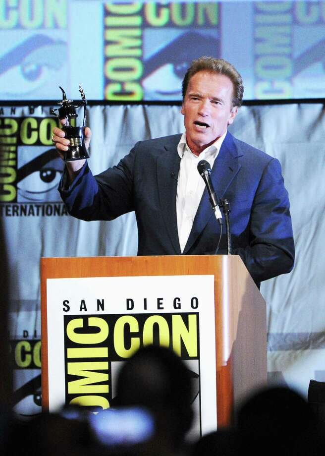 "SAN DIEGO, CA - JULY 12:  Actor Arnold Schwarzenegger speaks at ""The Expendables 2 Real American Heroes"" Panel during Comic-Con International 2012 at San Diego Convention Center on July 12, 2012 in San Diego, California. Photo: Kevin Winter, Getty Images / 2012 Getty Images"
