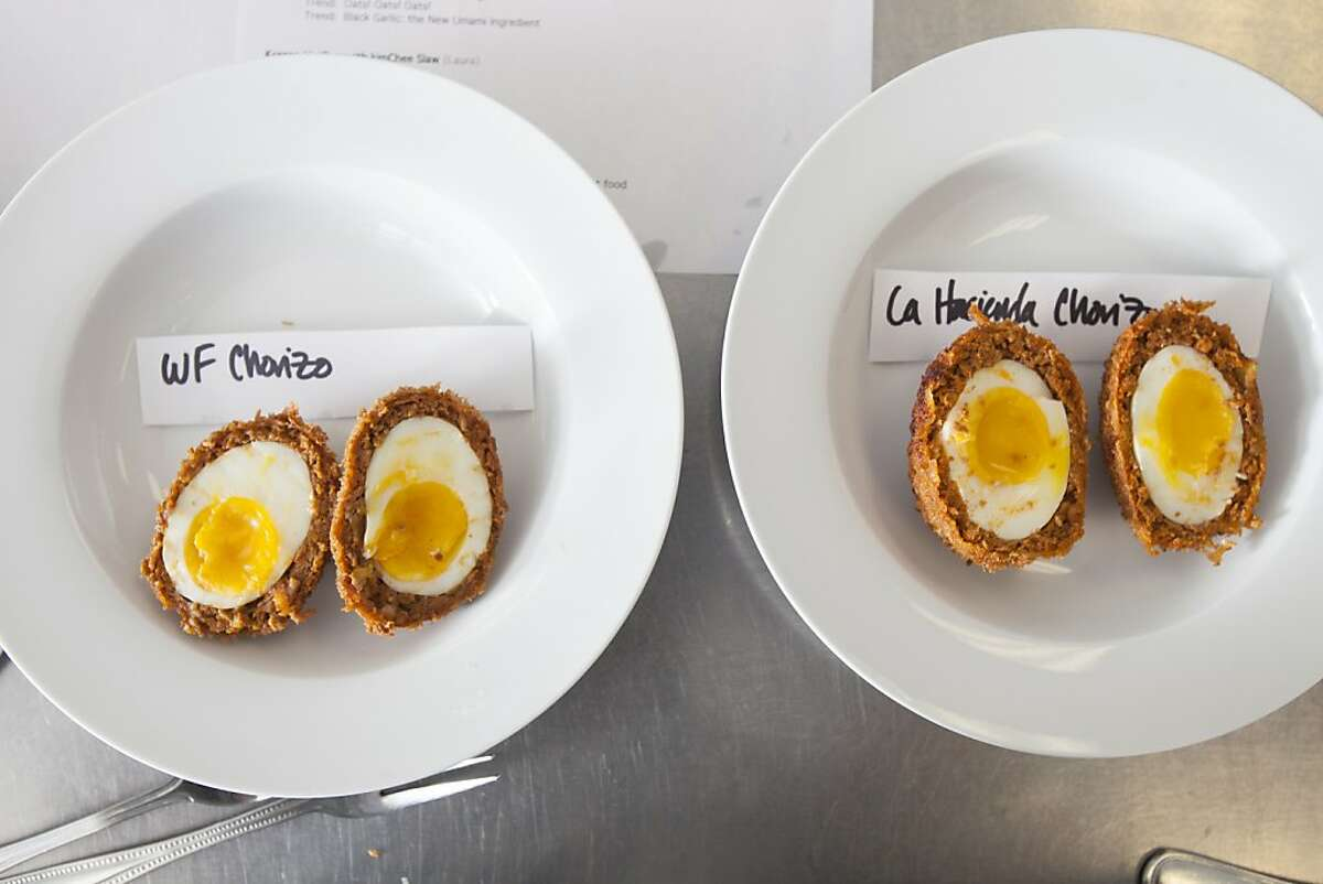 A two variation of Chorizo Scotch Egg by Mattson Food Technologist Andi Dommer was recently tested at the company's Foster City lab.