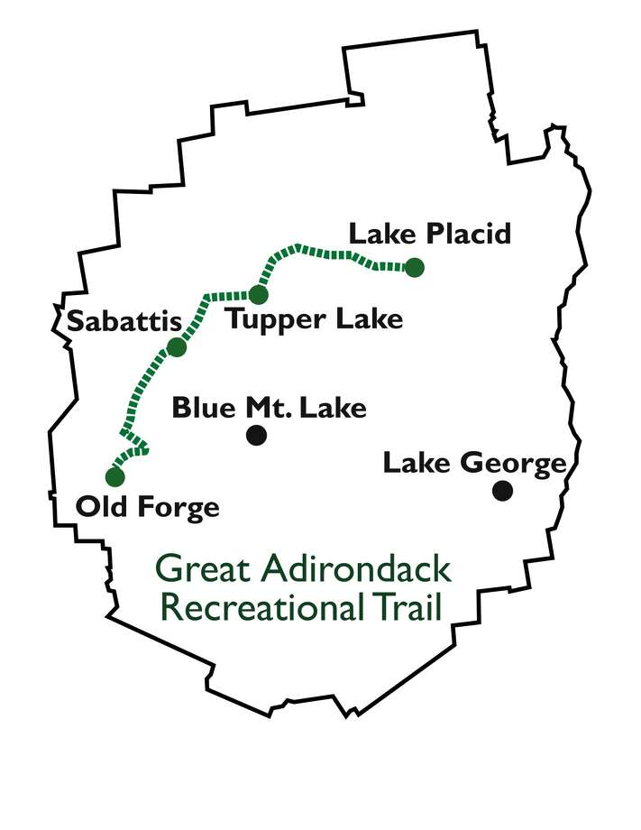 The map shows the route of the proposed Adirondack Recreational Trail.