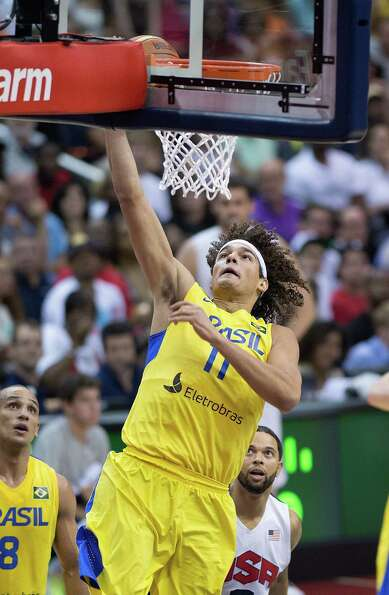 Brazil's Anderson Verajao (11) scores against the USA National Basketball Team during the first half