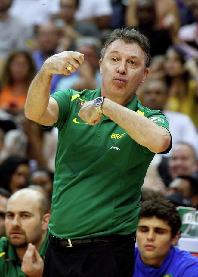 Brazil coach Ruben Magnano reacts during the first half of an Olympic men's exhibition basketball game against Team USA, Monday, July 16, 2012, in Washington. Team USA won 80-69. (AP Photo/Alex Brandon) Photo: Alex Brandon, Associated Press / AP